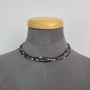 Silpada Black Cord Sterling Silver Beads Necklace